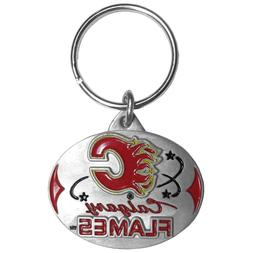 Calgary Flames NHL Officially Licensed Oval Pewter Key Ring