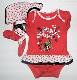 NHL Apparel Infant Girls Ottawa Senators Bodysuit Bib Bootie