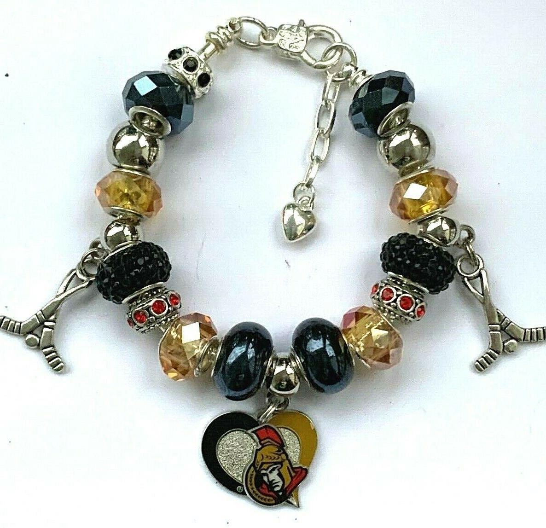 nhl ottawa senators crystal european charm bracelet