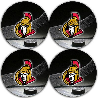 ottawa senators hockey rubber round coaster set