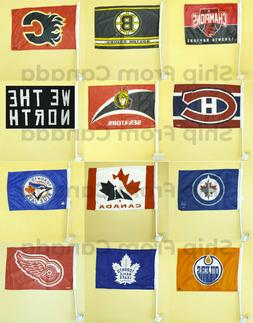 "Licensed High Quality Team CAR Window FLAG 12""X18"" with Stro"