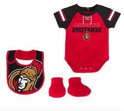 NHL Ottawa Senators NEW Infant 0-3 Months Outfit, Bib, & Boo