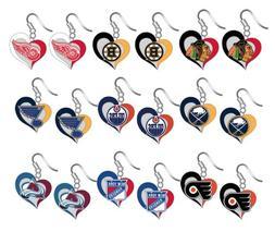 NHL Swirl Heart Team Dangle Earrings - Pick Your Team
