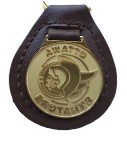 NWOT OTTAWA SENATORS Key Chain Fob Brown Leather Stitched Go