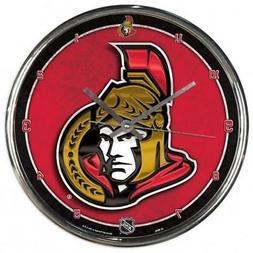 Ottawa Senators Chrome Round Wall Clock  NHL Sign Banner Off