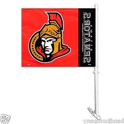Ottawa Senators DELUXE CAR FLAG TWO SIDED GIFT  with wall mo