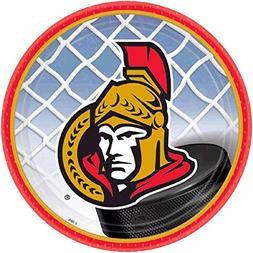 """Amscan Ottawa Senators Dessert Plates, 7"""", Multicolored"""