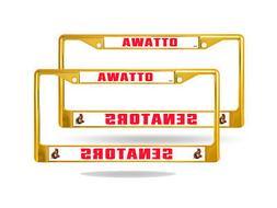 Ottawa Senators Gold Painted Chrome Metal  License Plate Fra