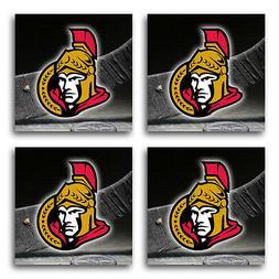 ottawa senators hockey rubber square coaster set