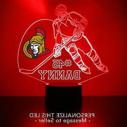 Ottawa Senators Night Light, Personalized FREE, NHL Hockey L